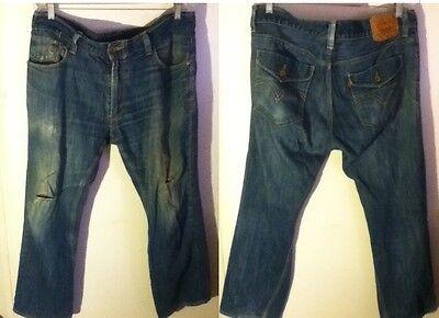 VTG 514 Levi Slim Straight Distress Cotton Fade Denim Blue Jean Pants 36 x 29 27