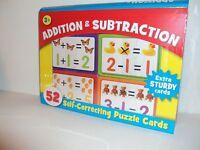 Addition & Subraction Self Correcting 52 Extra Sturdy Puzzle Cards Storage Case