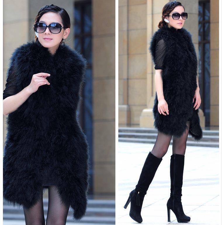 Women's 100% real soft ostrich fur long vest waistcoat gilet coat fashion 4color