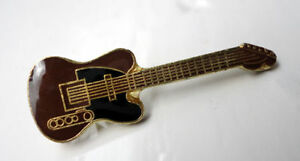 ZP121-Classic-Brown-Electric-Guitar-pin-Badge-Country-Rockabilly-Blues-Rock