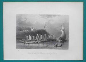 CANADA-Cape-Sante-on-St-Lawrence-River-near-Quebec-BARTLETT-Antique-Print