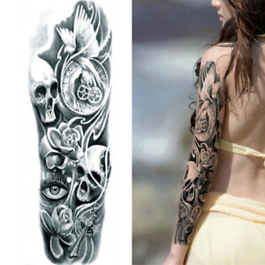 Details About Tribal Roses Skull Black Full Arm Temporary Tattoo Sleeve Body Sticker Halloween