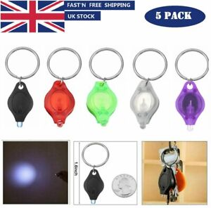 New 5pcs Mini LED Bright  Camping Flashlight Torch Keyring Portable KeyChain UK