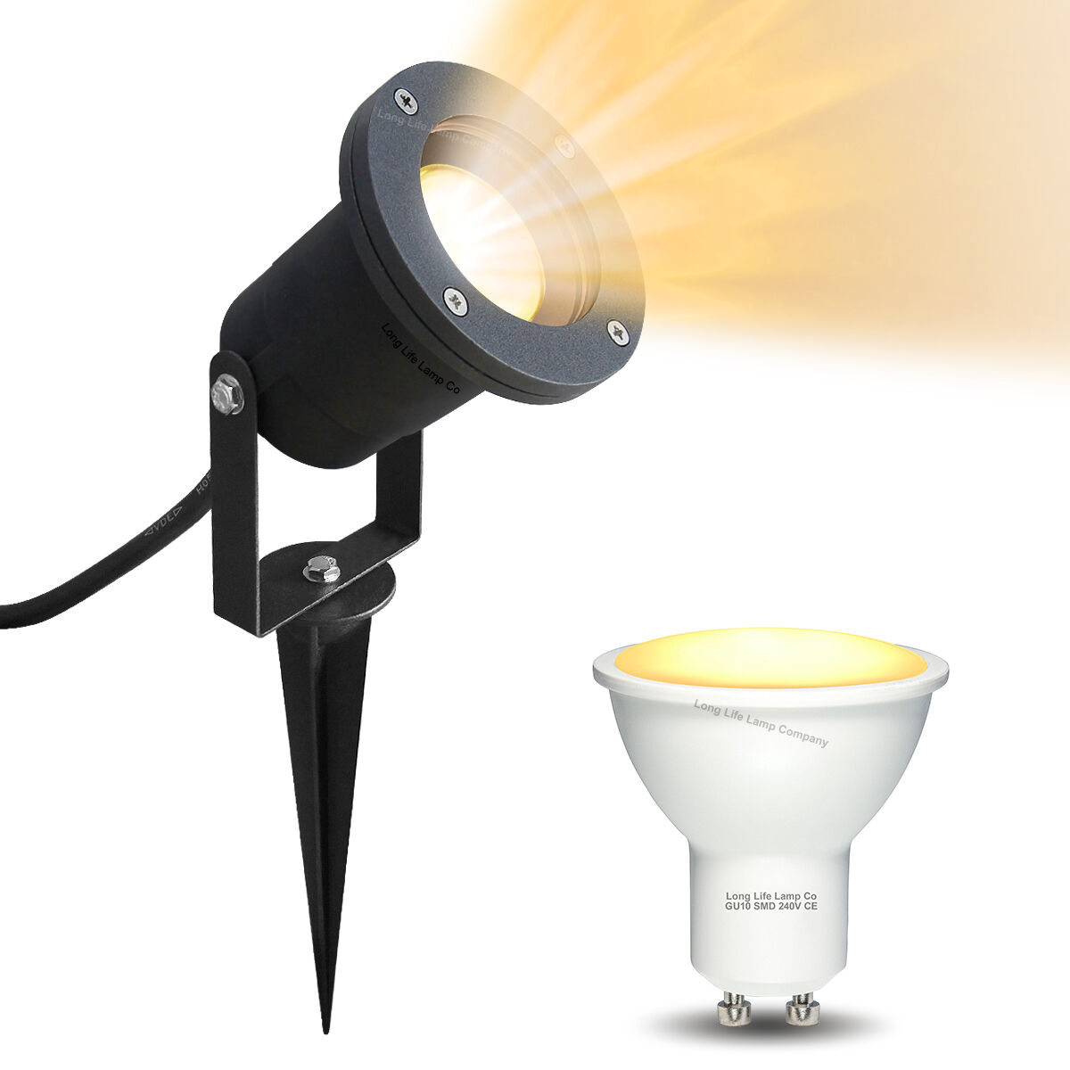 LED Garden Spike Lights Adjustable IP65 4W GU10 240v Mains, Various Pack Größes