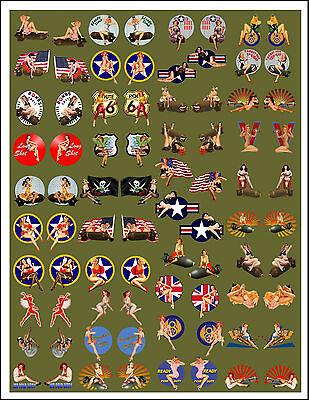 WWII Pinup Model Building Nose Art decal 1:48 & larger backed by Olive Drab #336