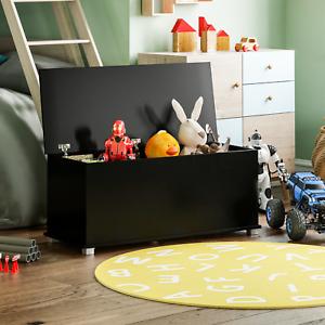 Toy Box Chest Large Wooden Storage Blanket Lid Black Childrens Kids Tidy Bin