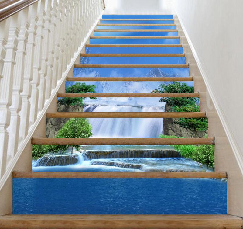3D Bule River Sky Stair Risers Decoration Photo Mural Vinyl Decal WandPapier CA