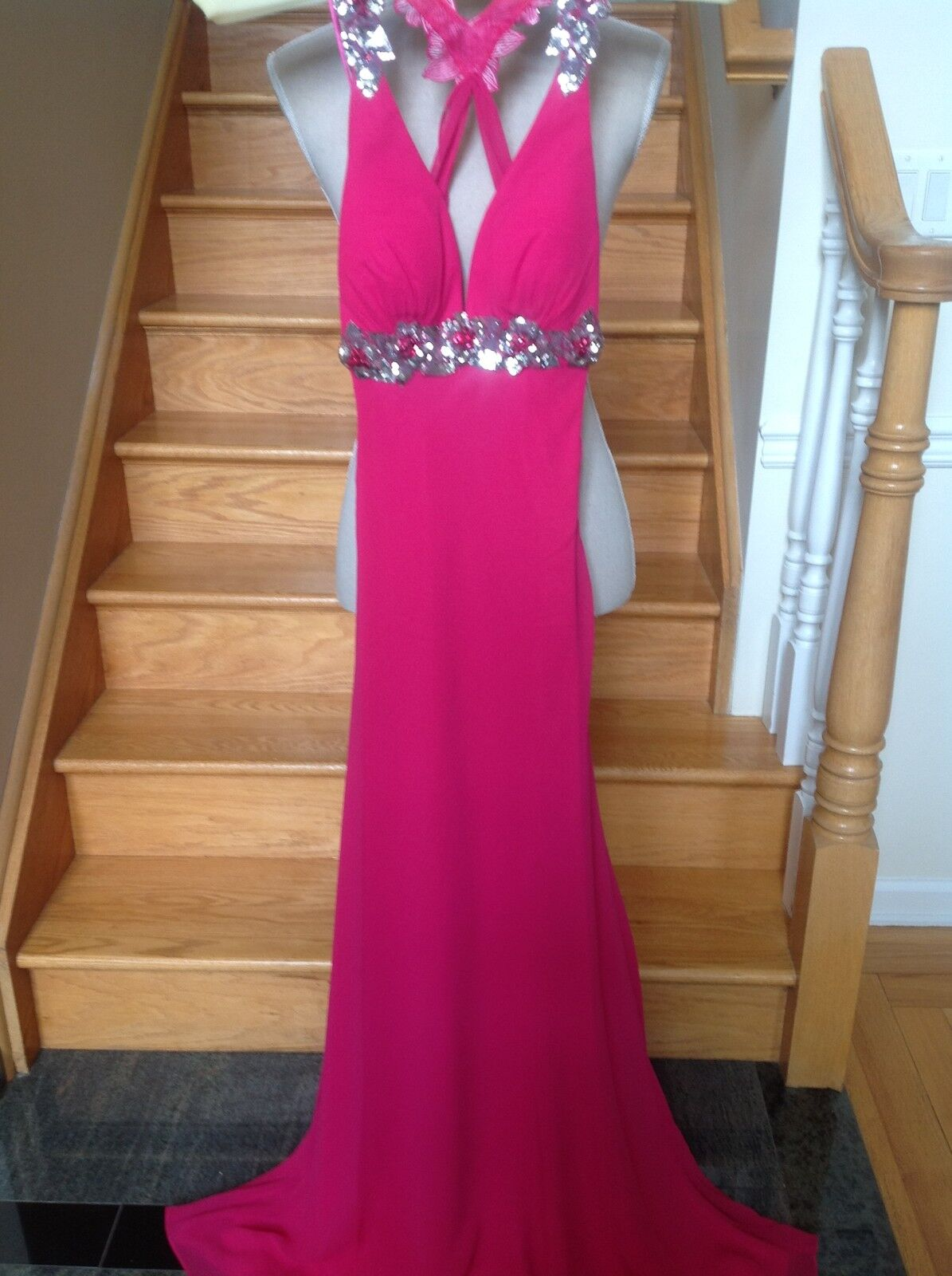 New FAVIANA 6734 CRANBERRY Long Prom Formal PAGEANT DRESS GOWN Size  0