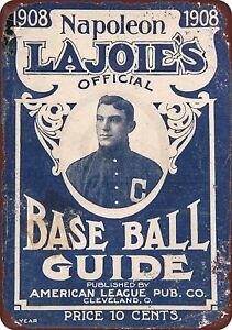 1908-LaJoie-039-s-Baseball-Guide-Rustic-Retro-Metal-Sign-8-034-x-12-034