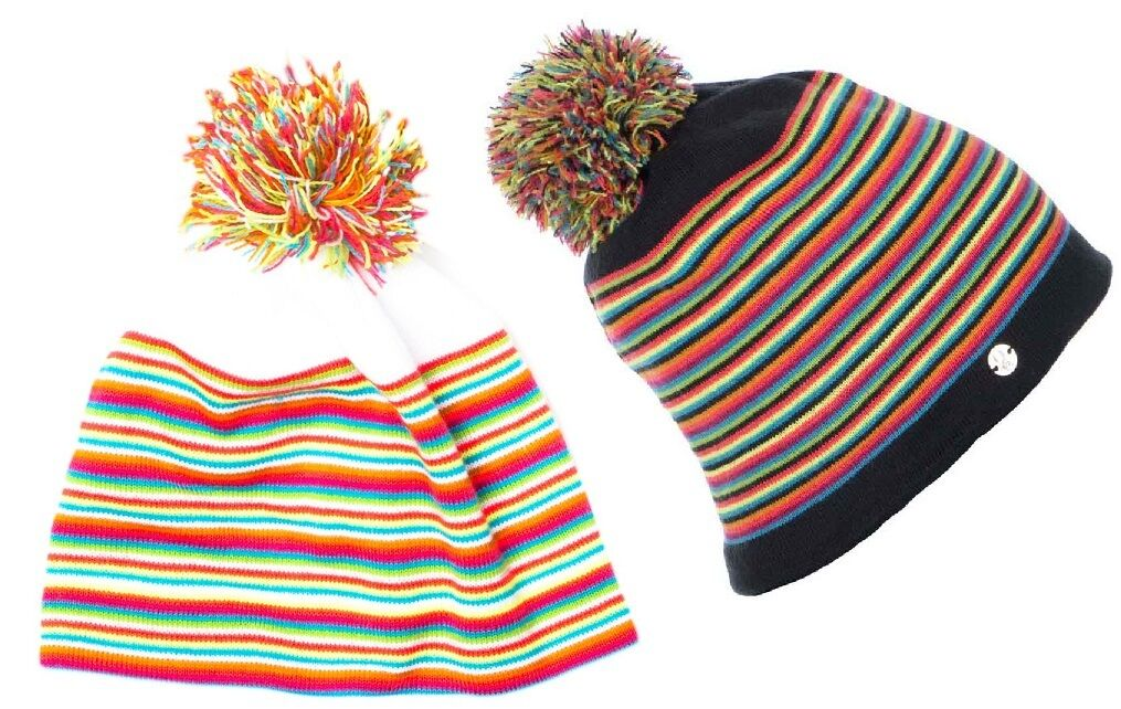 Women's SPYDER Stripe Hat Fleece Lined Double Layer Knit Stripes Beanie w  Pom