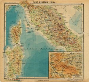 Cartina Politica Italia Zoom.Carta Geografica Antica Italia Centrale Fisica Paravia 1941 Old Antique Map Ebay