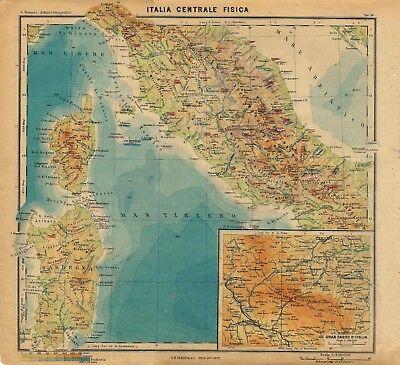 Cartina Italia Politica Alta Definizione.Carta Geografica Antica Italia Centrale Fisica Paravia 1941 Old Antique Map Ebay