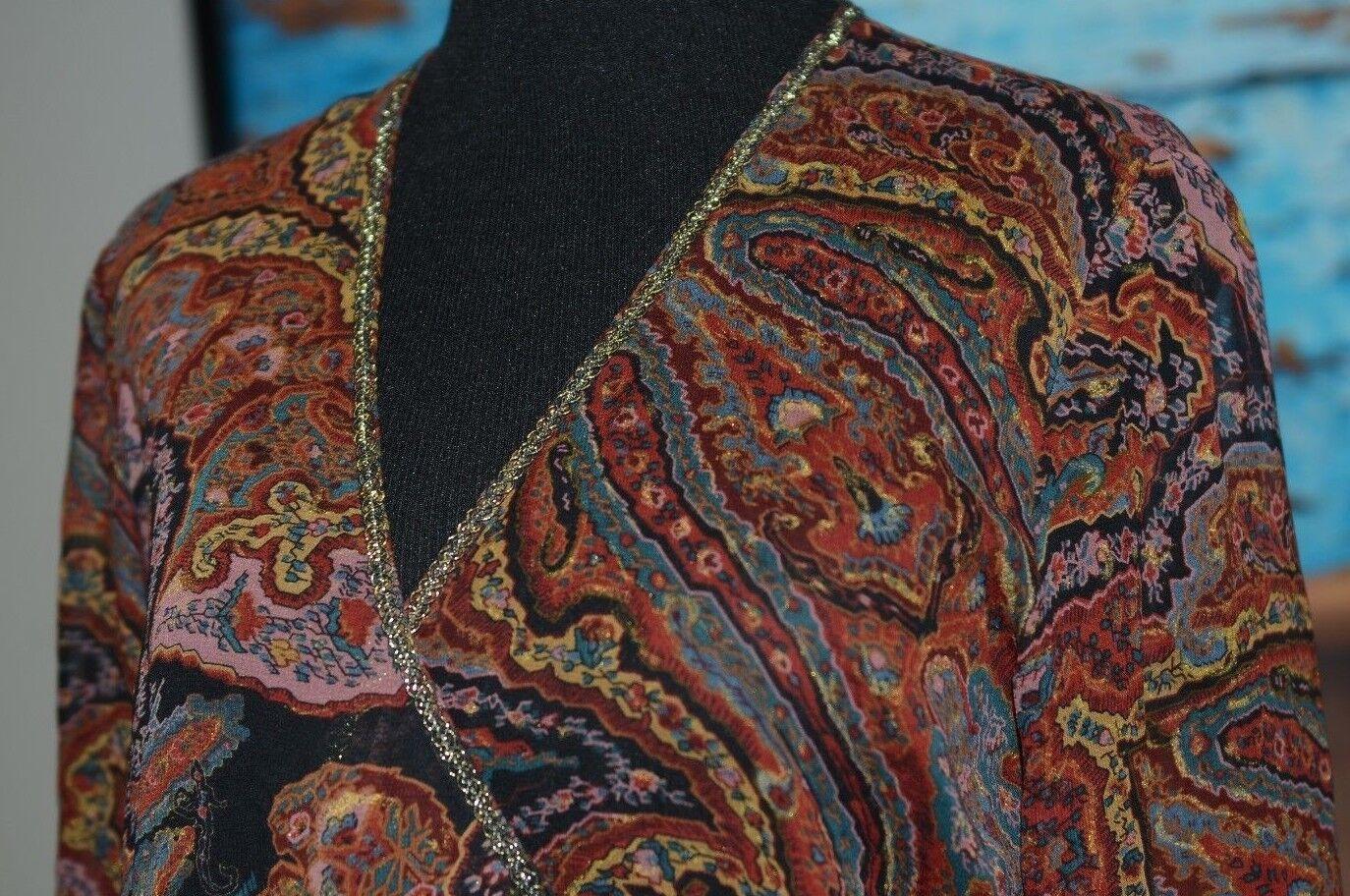 Ralph Lauren Größe 4 Silk Wrap Around Blouse Bow V Neck Shirt Shimmer Sheer braun