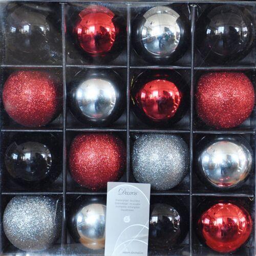 Weiß Weihnachtskugeln 16x Kunststoff Christbaumkugeln 6cm Gold Bunt Rot