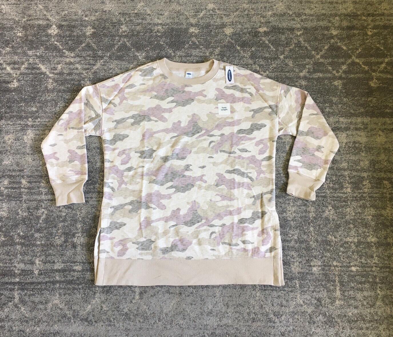 Old Navy Womens M Sweatshirt Camo Beige Long Sleeve Slits Tunic Length NWT B2