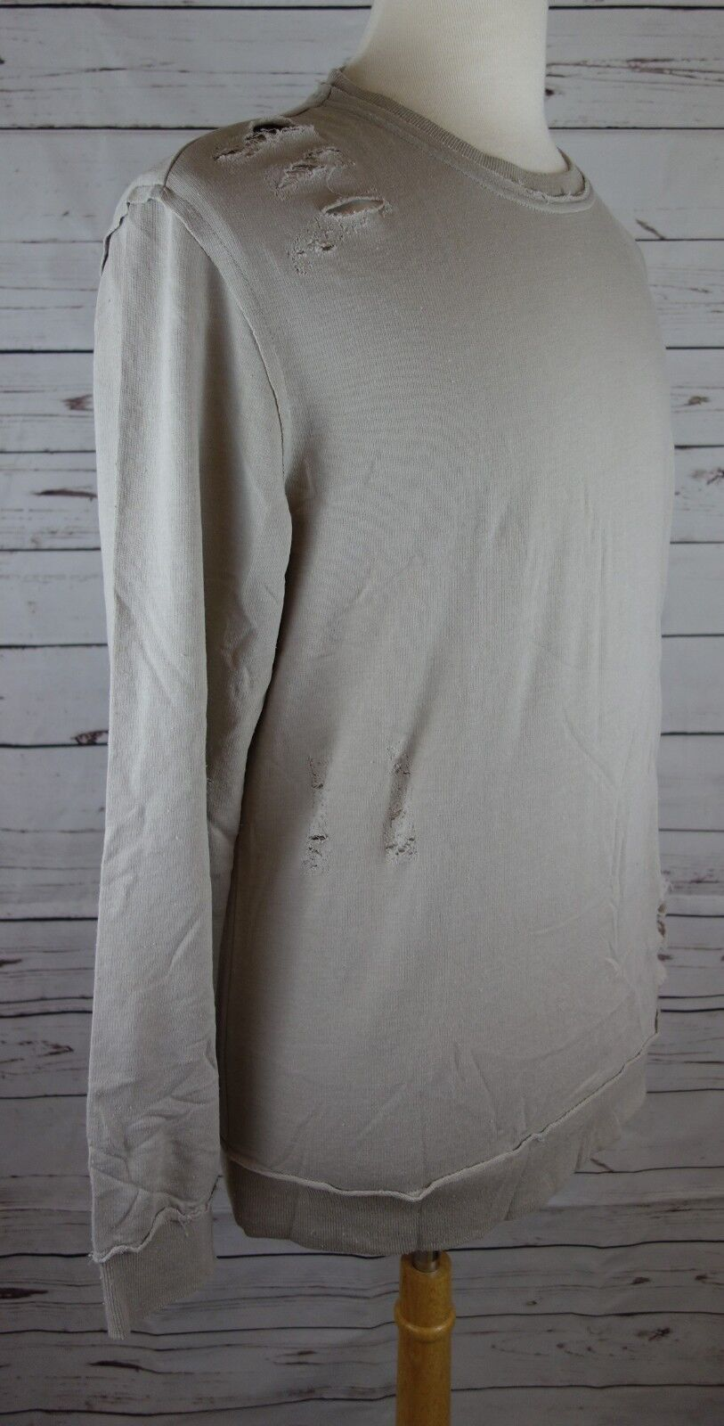 NEW INC International Concepts Men/'s Ripped Sweatshirt Smoked Silver MSRP $55.00