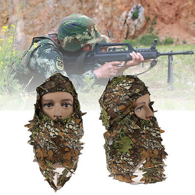 Camouflage Face Mask Mask 3D Leaf Stereo Full Polyester Elastic Durable