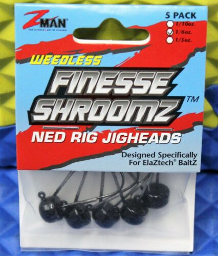 Z-MAN WEEDLESS Finesse ShroomZ 1//6oz Ned Rig Jig Heads 5 Pack CHOOSE YOUR COLOR!