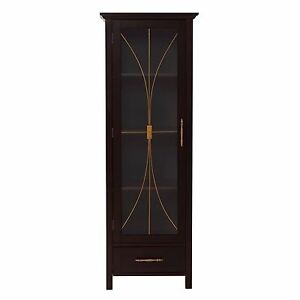 Sansai Modern Gl Door Bathroom Linen Floor Cabinet