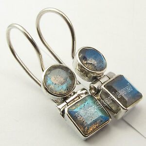 925-Silver-Genuine-LABRADORITE-Earrings-1-034-SEMI-PRECIOUS-GEMSTONE
