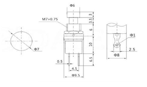 KIT 5 x pulsante miniatura da pannello nero 7 mm 5 colori 5Pz 230 Vac