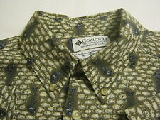 COLUMBIA Mens Button Front/Collar Shirt,M/Medium,Short Sleeve,FishBone,Saltwater