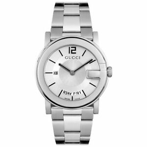 GUCCI 101G Silver Steel Men's Watch YA101306 New In Box With Tags