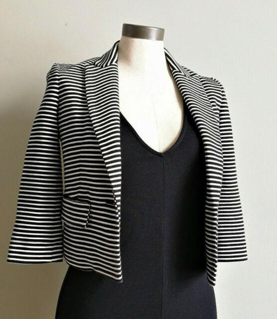 BCBGMAXAZRIA Natalia womens XXS B&W striped cropped blazer short suit jacket