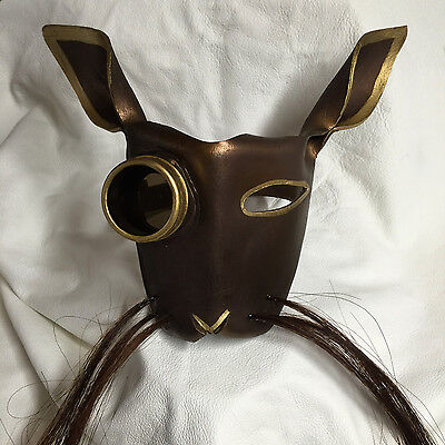 Leather art Steampunk bunny mask with goggle//lens /& horse hair whiskers