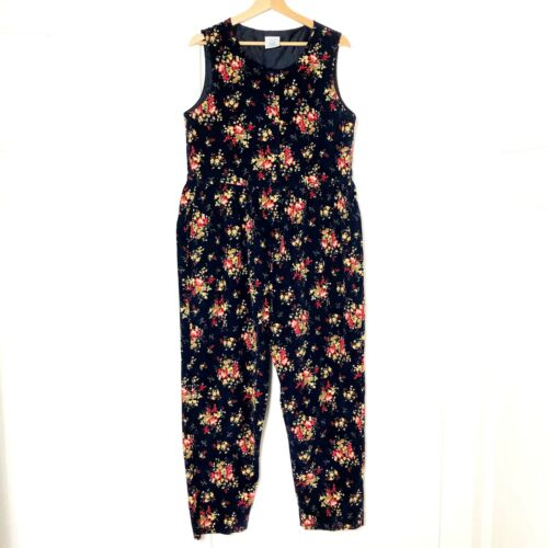 VTG Laura Ashley Womens L Jumpsuit Overall Floral