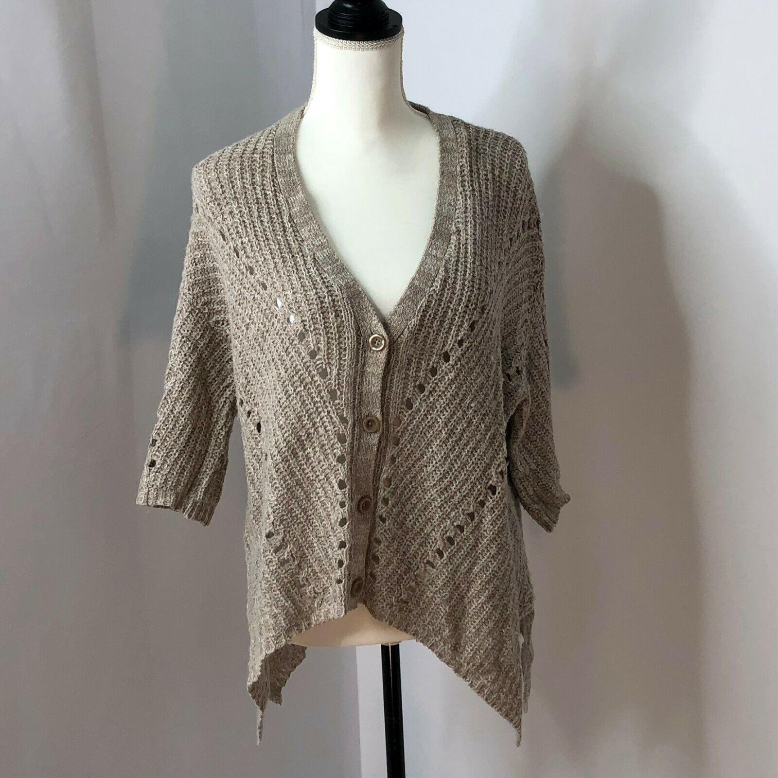 Anthropologie Moth Women Cardigan Button Front Knit Sweater  Size Medium