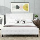 Uenjoy Button Tufted Upholstered Platform Metal Bed Frame, Quen Size - White