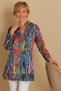 Soft-Surroundings-Long-Sleeve-Mosaic-Tunic-Multi-Color-Tie-Dye-Embroidered-Sz-XS