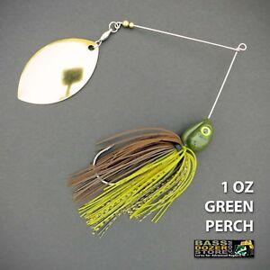 Bassdozer-spinnerbaits-SINGLE-OKLAHOMA-1-oz-GREEN-PERCH-spinner-bait-lures