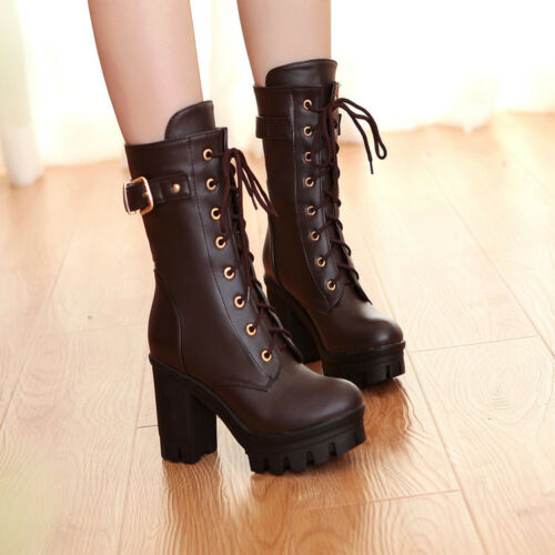 Womens Ankle Boots Riding Combat Boots Platform Block Heels Lace Up Casual Shoes