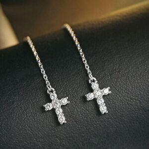 Damen-Ohrringe-Durchzieher-Kreuz-echt-Sterling-Silber-925-Zirkonia