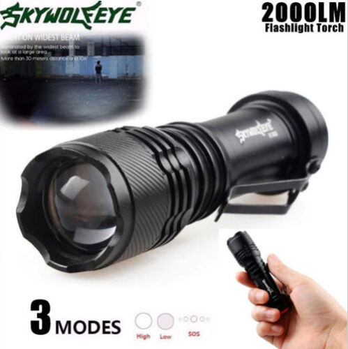 5000 Lumens Tactical Flashlight XM-L T6 LED Zoomable Torch Lamp X800 Light Kit