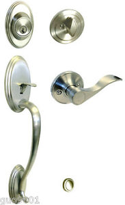 Image is loading Satin-Nickel-Front-Door-Handle-set-brushed-nickel-
