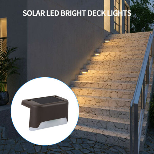 4-12pcs Solar Powered LED Deck Lights Outdoor Path Garden Stairs Step Fence Lamp
