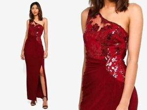 LIPSY-Michelle-Keegan-RED-SEQUIN-EMBELLISH-LACE-MAXI-OCCASION-EVENING-DRESS-99