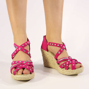 Womens Ladies Wedge Heel Sole Sandals Strappy Look Shoes Pink Sizes 3//4//5//6//7//8