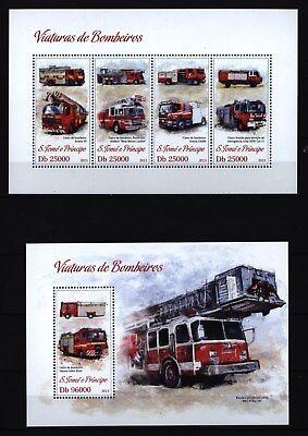 WunderschöNen Sao Tomé + Principe 2013 - Feuerwehr Löschfahrzeuge Leiterwagen Einsatzfahrzeuge Ruf Zuerst