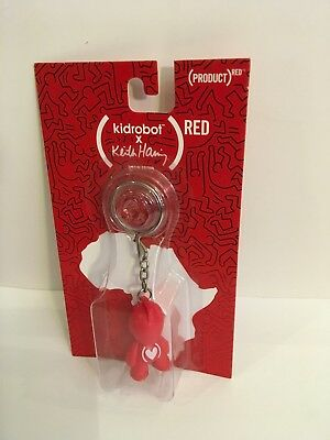 """KIDROBOT KEITH HARING RED ART FOR AFRICA 1.5/"""" ROBOT BOT FIGURE CARDED KEY CHAIN"""