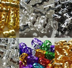 25-50-100-Braid-039-s-Dreadlock-Beard-Hair-Cuffs-Beads-Silver-Gold-Heart-Gun-Metal