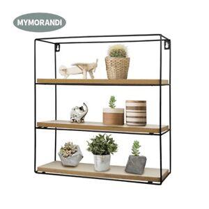 Black-Metal-Wood-Wall-Mounted-Floating-Shelf-Wire-Display-Storage-Rack-square