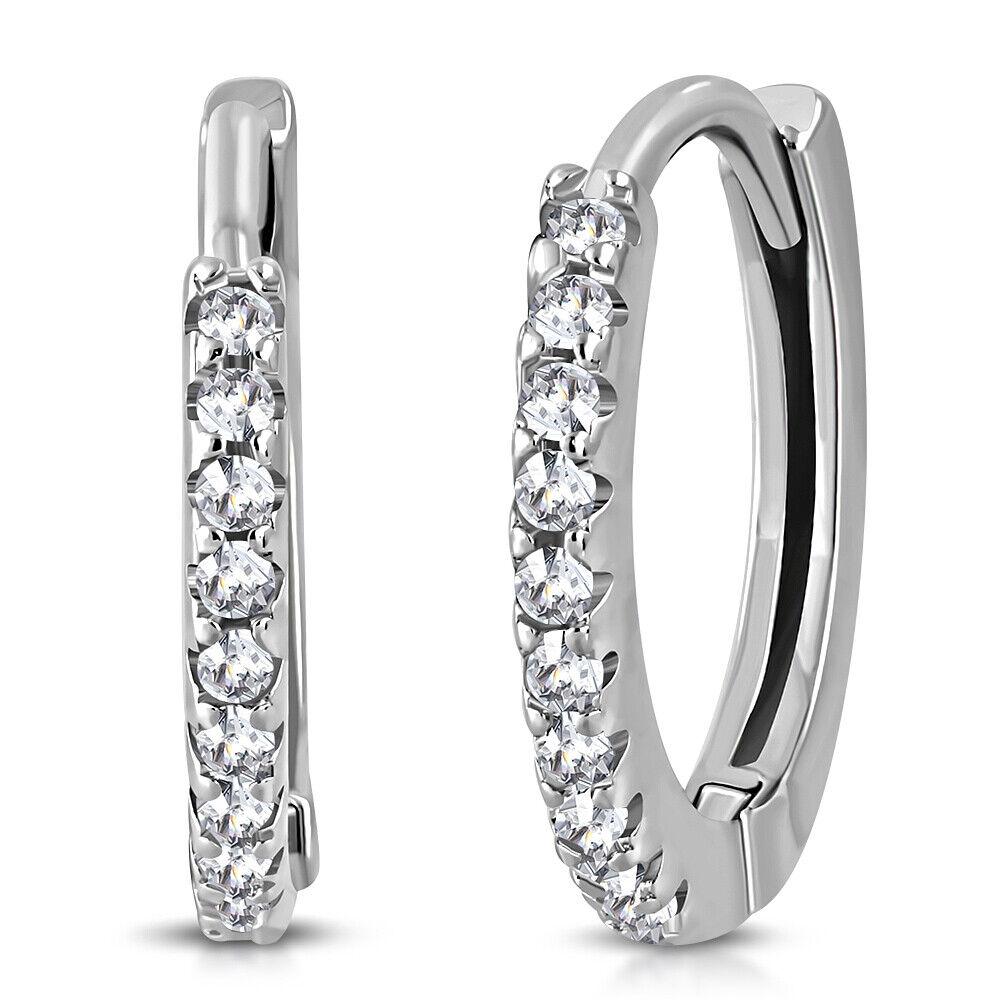 925 Sterling Silver White Clear CZ Hoop Huggie Earrings 0.65