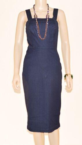 OASIS Dark Blue Stretchy Cotton Denim Zip Up Back Pinafore Dress Size 8-16 A10