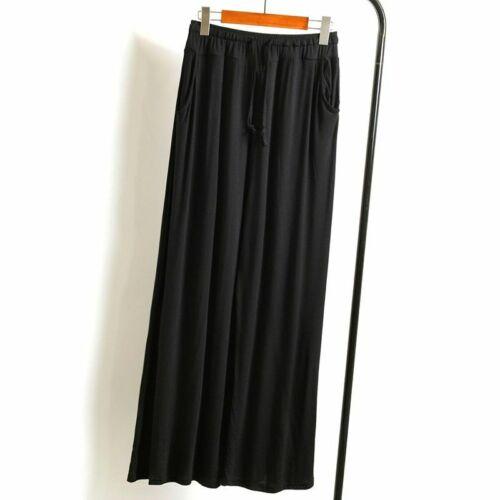 Womens Lounge Pants Long Wide Leg Soft Pockets Knit Palazzo Drawstring Loose USA