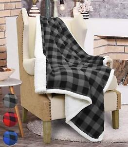 Sherpa Throw Blanket Luxe Réversible Confortable Polaire Chaude Super Doux Confort...