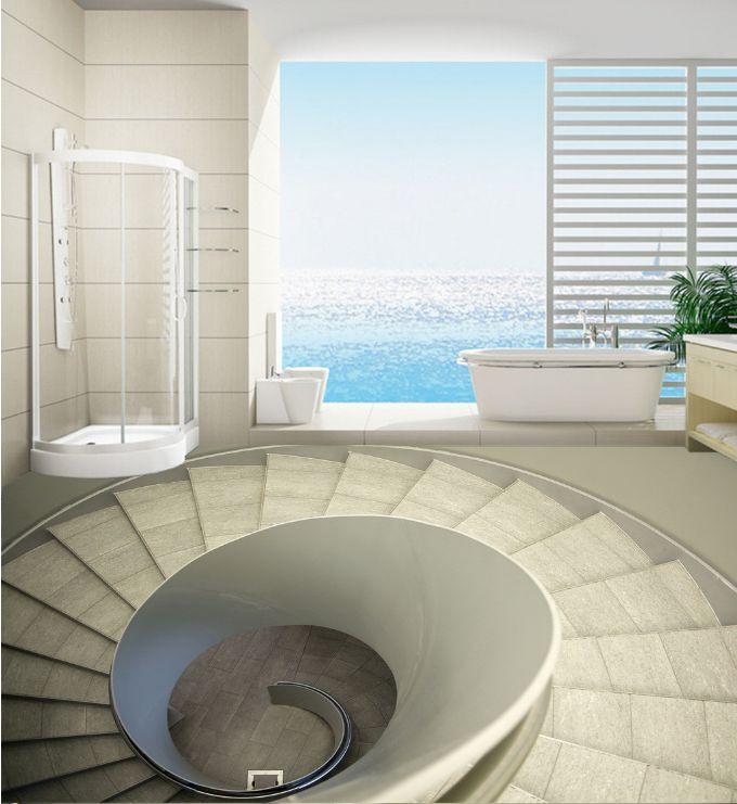 3D Stairway Rotate Art Floor Wallpaper Murals Wall Print Decal 5D AJ WALLAPER
